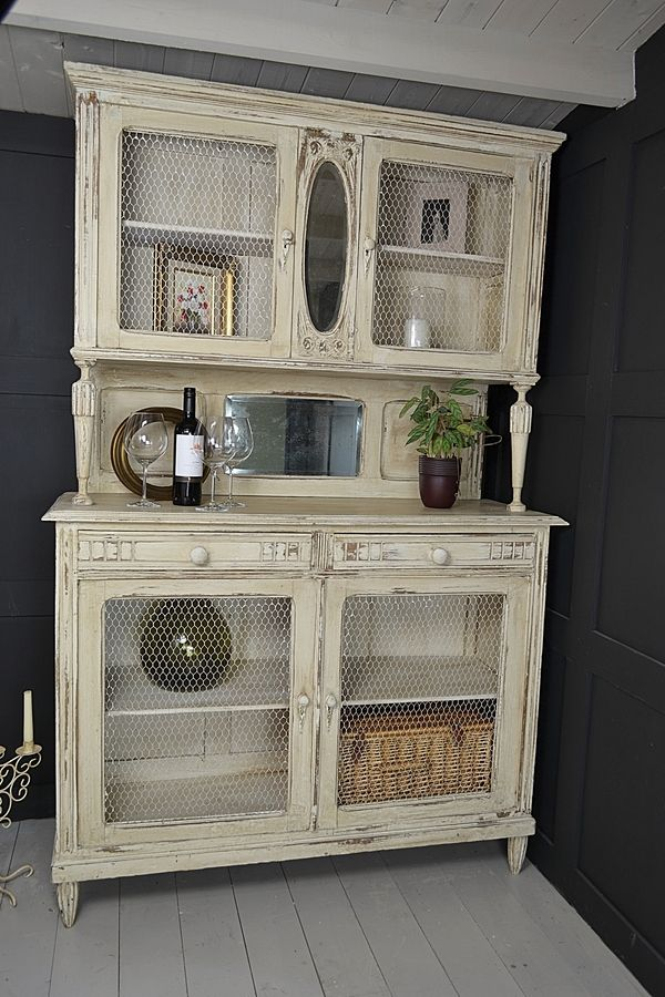 My mom has one of these on the side of her house. Think we should make hers look like this one! French Shabby Chic Kitchen Dresser with Chicken Wire Doors artwork