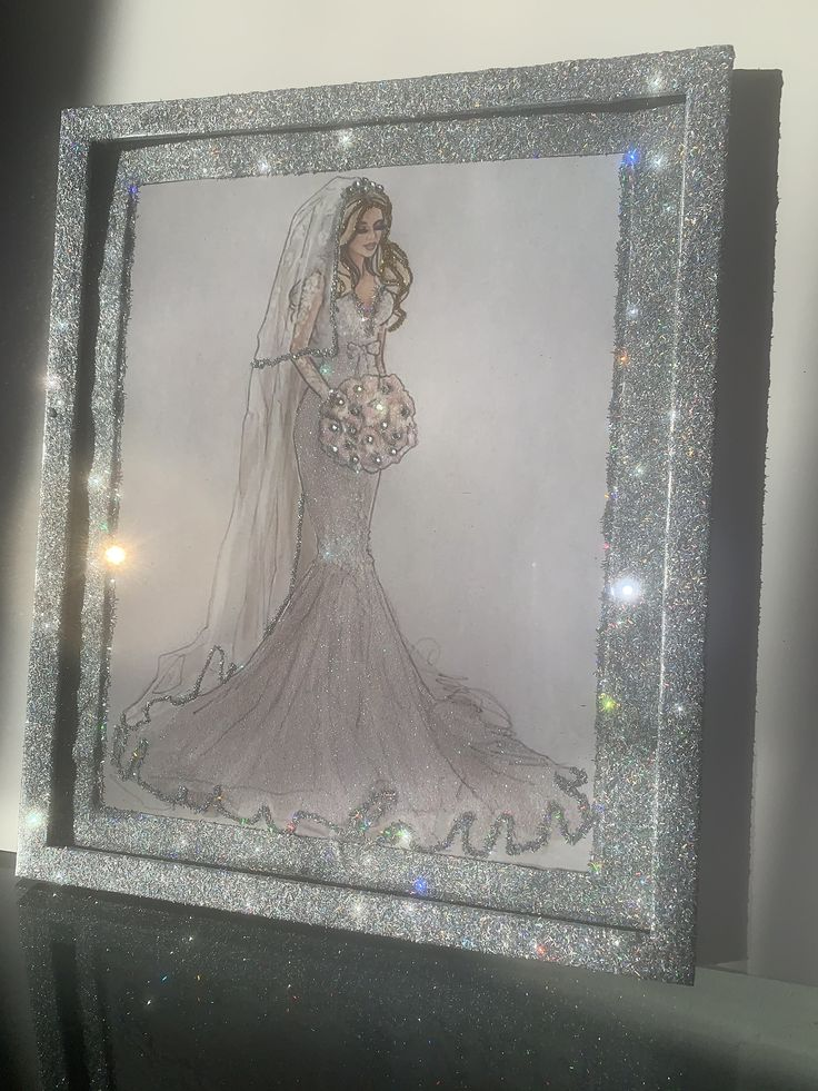 Glitter and crystal rhinestone wall art picture frame wall