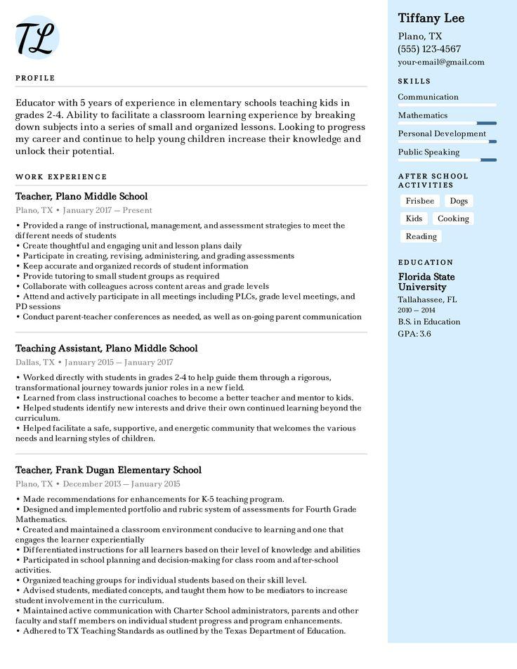 elementary school teacher resume example  teacher resume