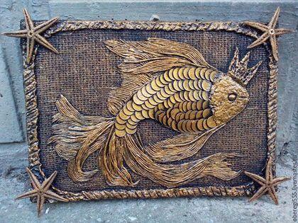 Обереги, талисманы, амулеты ручной работы. Ярмарка Мастеров - ручная работа. Купить картина панно золотая рыбка. Handmade. Золотой