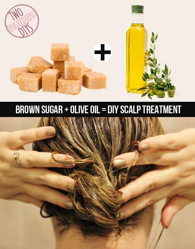 """Dê ao seu couro cabeludo um pouco de carinho com esse tratamento em açúcar mascavo e azeite de oliva.   27 receitas """"faça você mesmo"""" extremamente fáceis de apenas dois ingredientes"""