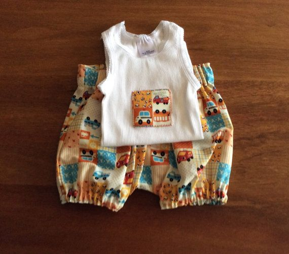 Baby boys  Embellished Singlet and bloomers Harem by Angellaschild