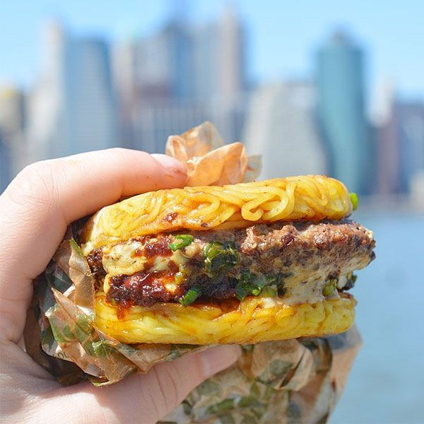 Ramen BurgerOkay, so the ramen burger might just be one of the most talked about dishes in New York City. And, rightfully so. Once you get over the texture of a bun molded from cooked noodles, you'll savor the flavorful beef patty, shoyu glaze, and lots of scallions. Nom.Ramen Burger, Smorgasburg, 90 Kent Avenue (between North 7th and Kent streets).Ramen Co., 191 Pearl Street (between Cedar and Liberty streets); 646-490-8456.