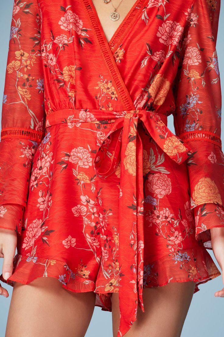 FINDERS KEEPERS FLICKER LONG SLEEVE PLAYSUIT red floral