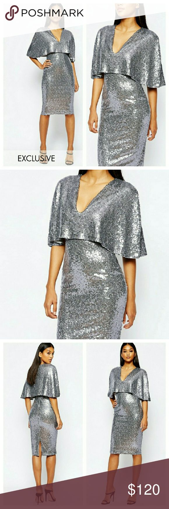 Asos Cape Sequin Midi Dress NWTs. UK size 8/US size 4. Purchased for myself off Asos but never wore. Brand new in packaging. Completely sold out. 100% poly with all over sequins. Zips in back. ASOS Dresses Midi