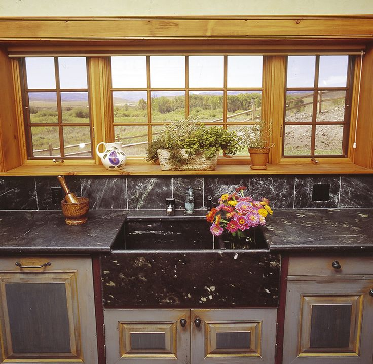 Tulikivi soapstone countertop and sink. #ranch #kitchen