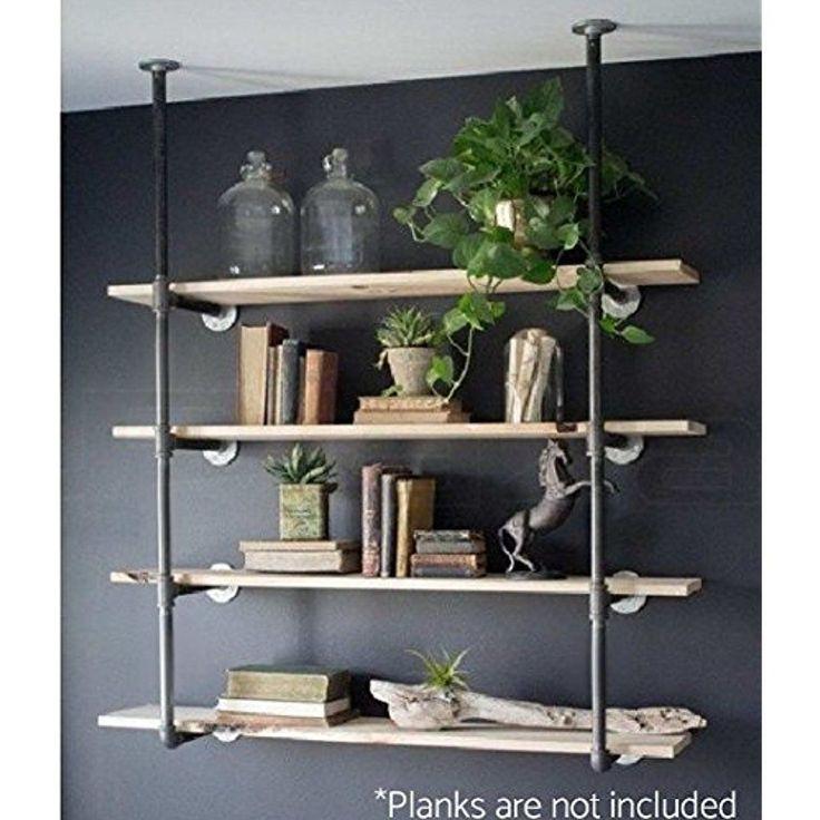 Details about Wall Mount Iron Pipe Shelf Hung Bracket Diy Storage Shelving Bookshelf 2 Pcs New