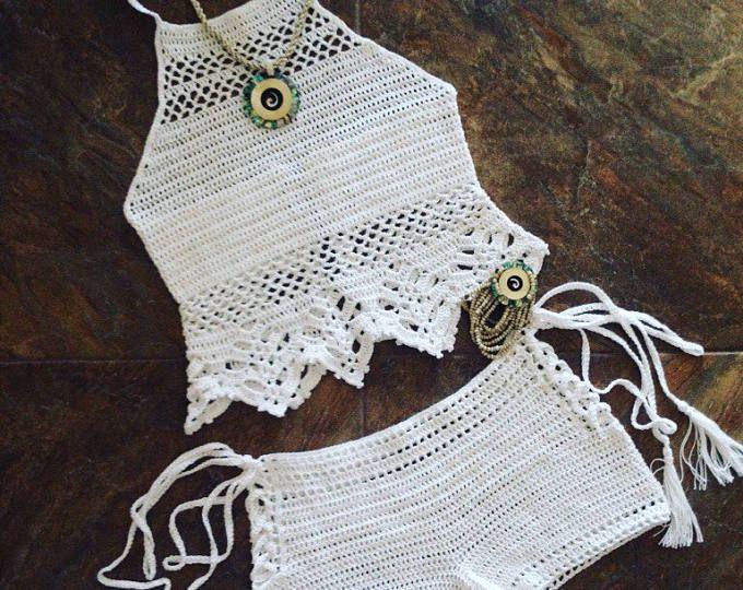 Beachwear,Crochet halter top,Festival clothing,Halter crop top,Top crochet,Crochet shorts,Beach suit,Gypsy,Boho,Bohemian style, Lace top,