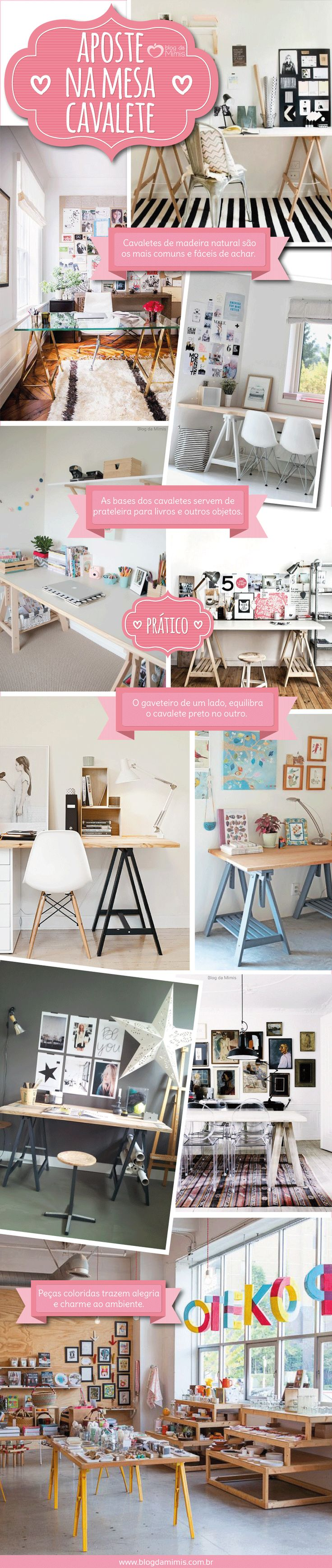 Super cool: aposte na mesa de cavalete - Blog da Mimis - Elas deixam o escritório charmoso e é opção econômica e prática.