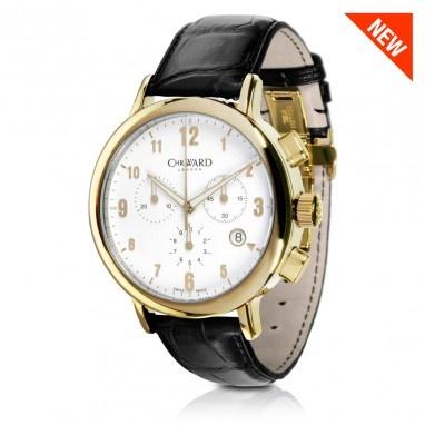 C3 Malvern Chronograph MK II Gold Watch with Black Leather Strap, C3GWK-MK2 - Christopher Ward