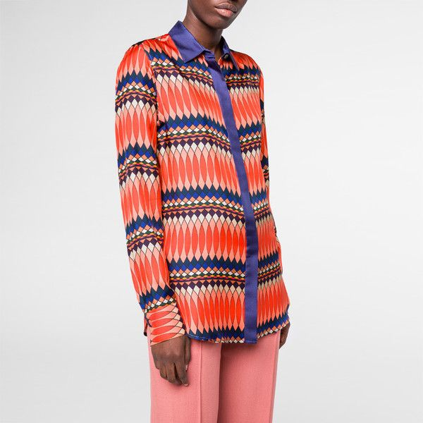 Paul Smith Women's Multi-Coloured 'No. 9' Print Silk-Twill Shirt (585 CAD) ❤ liked on Polyvore featuring tops, long sleeve tops, long sleeve shirts, tailored shirts, patterned tops and french cuff shirts