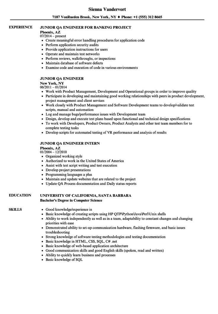 Junior qa engineer resume samples resume engineering