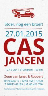 Geboortekaartje brandweerauto | birth announcement | typografie en letterpress stijl. www.meisenmanneke.nl