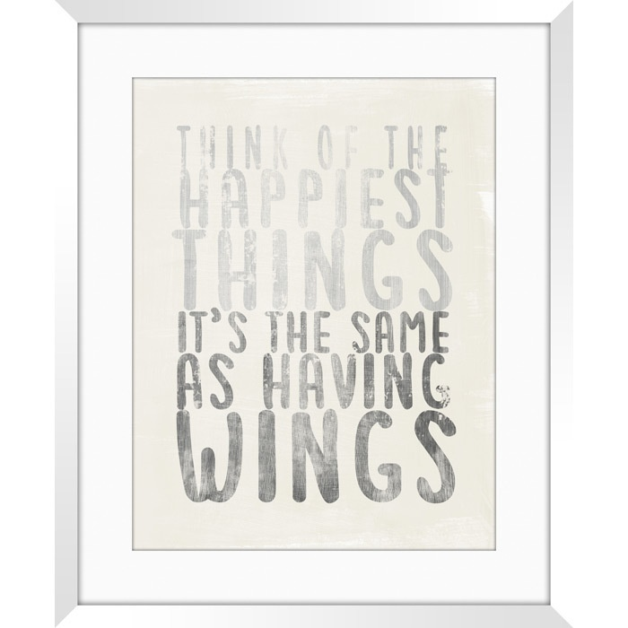 'Think of the happiest things it's the same as having wings' - Peter Pan Framed Print