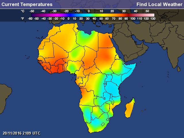 Africa Weather Map - Current Temperatures of Africa °F or °C - Find Local Weather