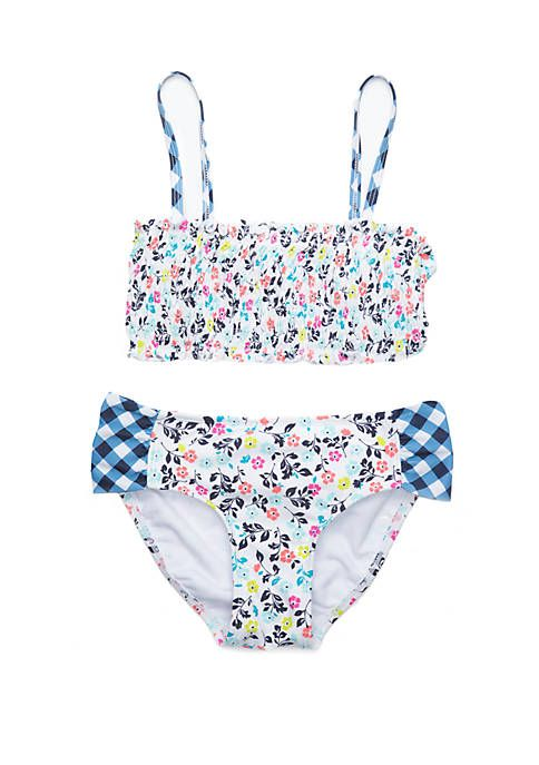468813cfdb Crown & Ivy™ Girls 7-16 Floral Gingham Twin Print Pucker 2 Piece ...