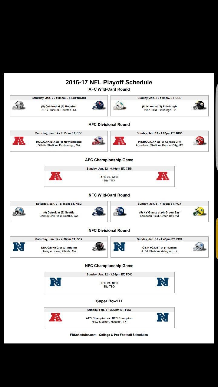 @lindalinduh 2016-2017 NFL PlayOffs Schedule. #NFL #Cowboys #Greenbay #football