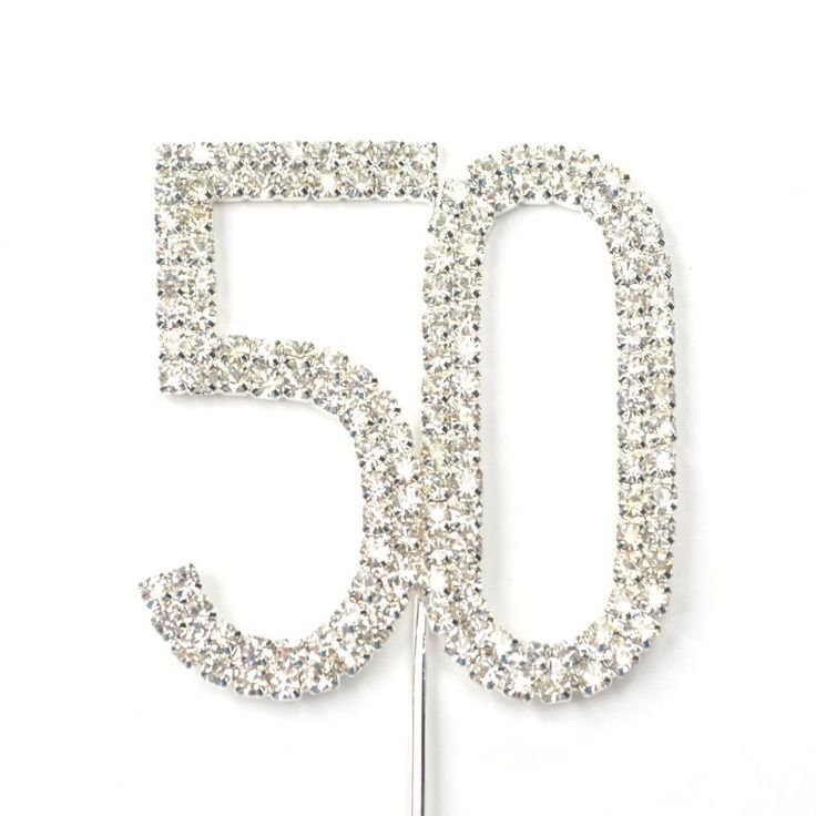 Cosmos ® Rhinestone Crystal Silver Number 50 Birthday 50th Anniversary Cake Topper -- Check this awesome product by going to the link at the image.