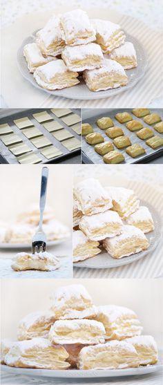 Miguelitos, pasteles de hojaldre y crema