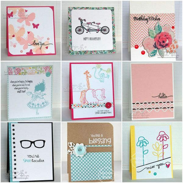 Collage of nine samples of easy card making ideas
