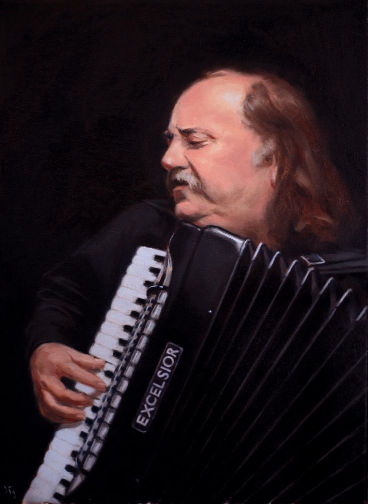 The Accordionist 12x16 oil
