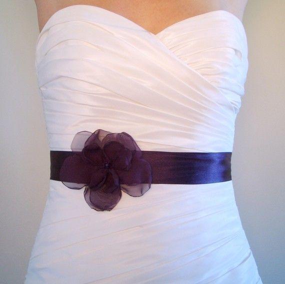 Wedding Sash PETITE JOSIE AUBERGINE - Dark Eggplant Purple Satin Bridal or Bridesmaids Sash. $59.00, via Etsy.