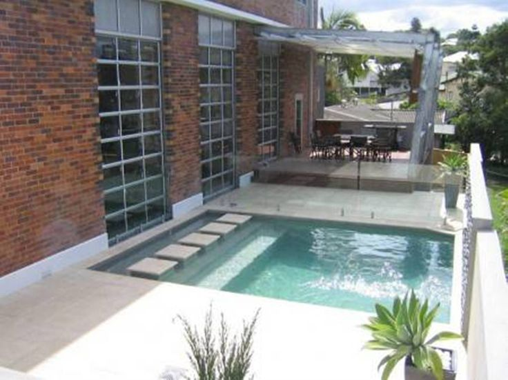 Plunge pool designs with stepping concrete garden at for Plunge pool design