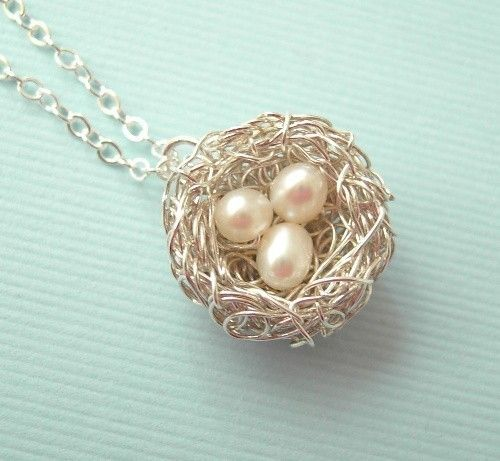 Tiny three eggs nest necklace by CrystalBlueJewels on Etsy