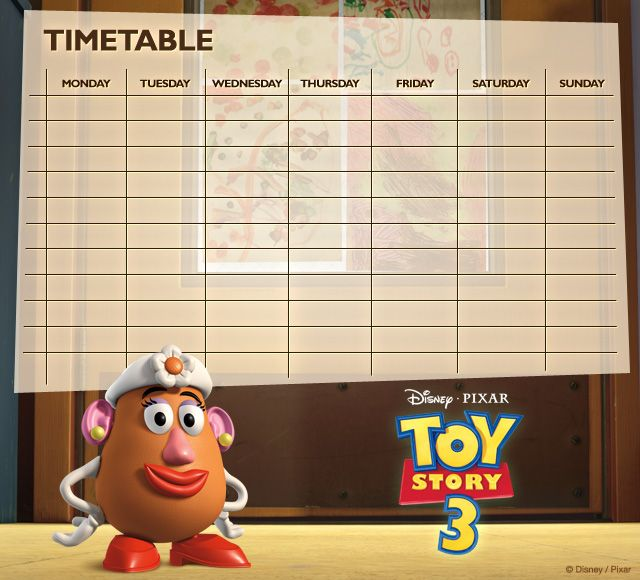 Toy Story Timetables 08