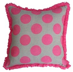 Neon pink and grey cushion