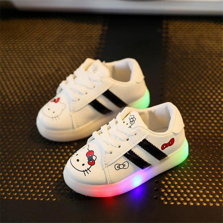 Nouvelle Arrivee LED Éclairage Enfants Chaussures Tendance de la Mode Sport Superstar Femme Chaussure Lumineuse PU Cuir Sneaker algwUprc