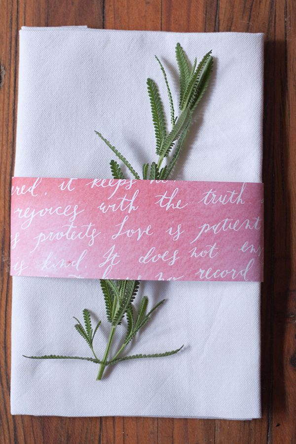 FREE printable: watercolor napkin bands featuring printed calligraphy depicting the most well-known biblical passage on love