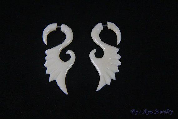 Tribal Wings Fake Gauge Bone Earrings Organic by ayujewelry  #earring #fakegauge #boneearring #bonecarving #bonejewelry