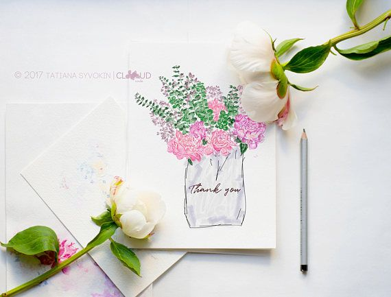 Notecard with Flowers Peony bouquet Watercolor card Flower