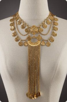 "Gold Necklace recovered from Pompeii--how about a DIY version with mother-of-pearl drops instead of ""coins""?"