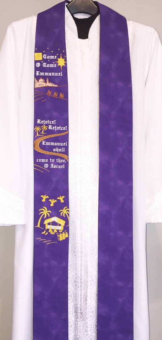 "B16 - Purple Clergy Stole w/ ""O Come Emmanuel"" Advent Hope"