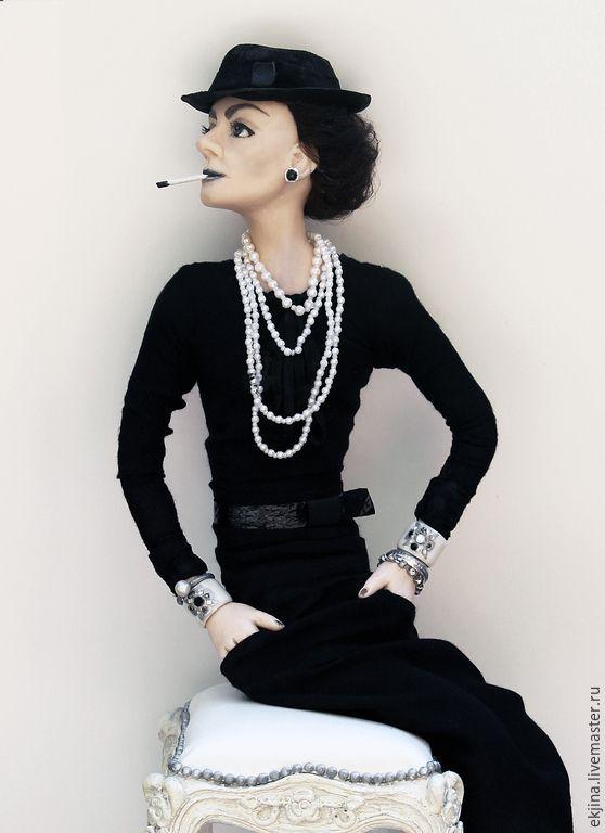 Купить Авторская портретная кукла Коко Шанель - великая, женщина, в шляпе, коллекционная кукла
