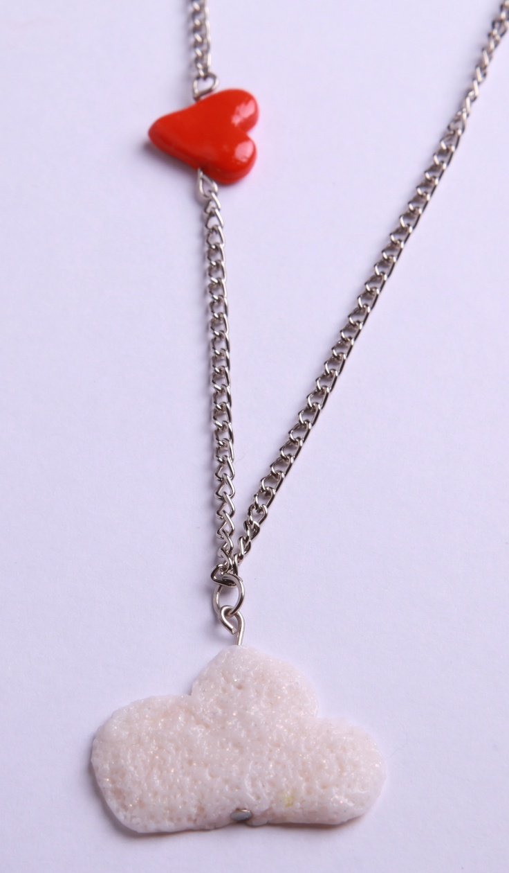 """Polymer Clay """"Love is in the Air"""" necklace by milk+biscuit, $11"""