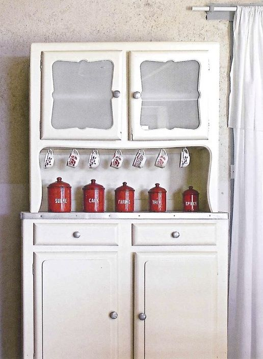 A Kitchen Hutch And Dry Goods Canisters French Country Style At Home
