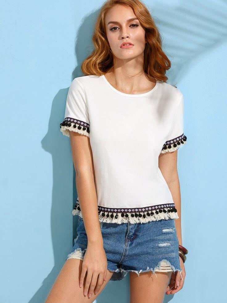 T-shirt+manche+courte+avec+pompons+et+franges+-+blanc++8.28