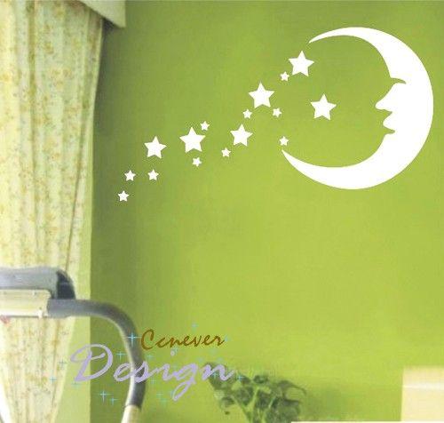 SALE  Moon Stars Kids Nurseryart Graphic Vinyl wall by ccnever, $21.95