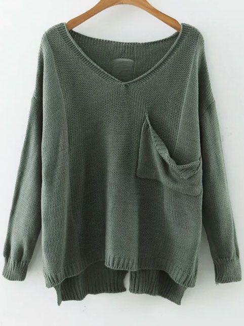 Shop Green V Neck Drop Shoulder Dip Hem Sweater With Pocket online. SheIn offers Green V Neck Drop Shoulder Dip Hem Sweater With Pocket & more to fit your fashionable needs.