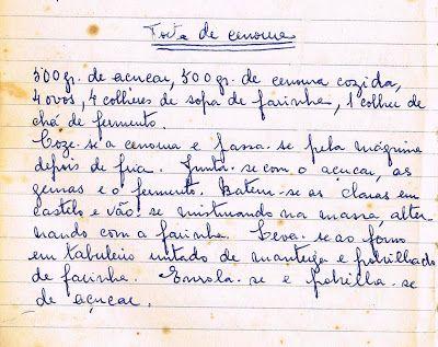 As Receitas da Avó Helena e da Avó Eduarda: Torta de Cenoura