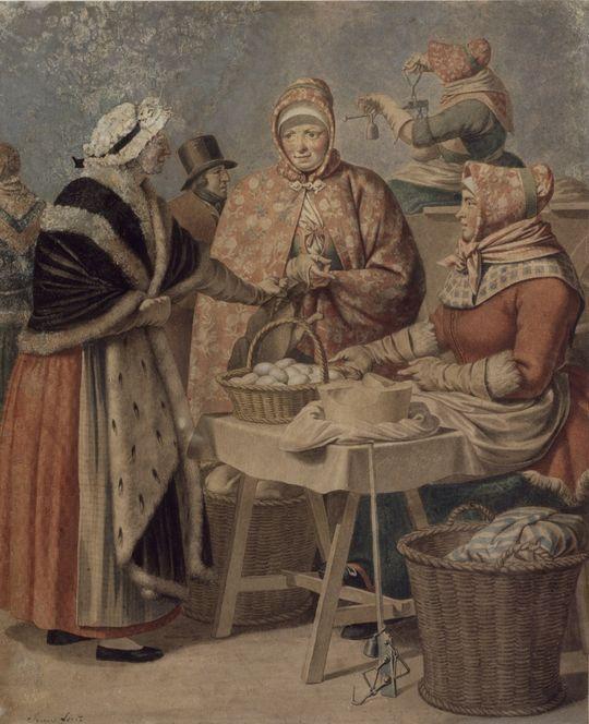 Valbykoner med æg og høns, 1807
