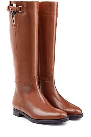 Detailed with the brand's signature check, these brown leather riding boots  are an investment from. Burberry OutletBurberry ShoesLeather ...