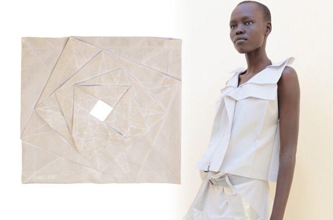 issey miyake s'inspire des origamis dans ses collections et donc inclue les formes géométrique directement dans ses vêtements que se sois part des formes des couleurs ou des matières, et en jouant sur le ressentit