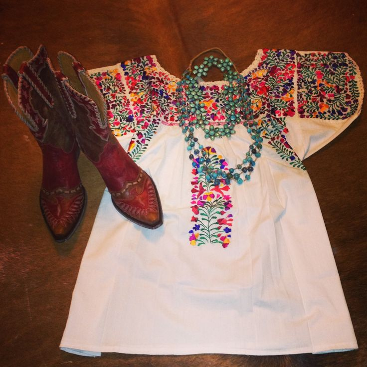 Mexican shirt, Turquoise, and Old Gringo Boots