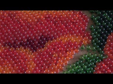 Процесс вышивки бисером, закрепление нити... - YouTube