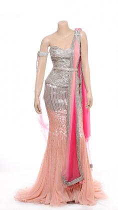 Indian Designers. Pink Bridal Lehengas with Corset by Raakesh Agarvwal 2013
