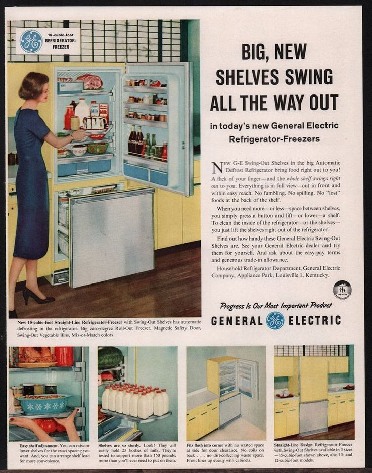 GE General Electric Straight Line Refrigerator MidCentury - Kitchen ad